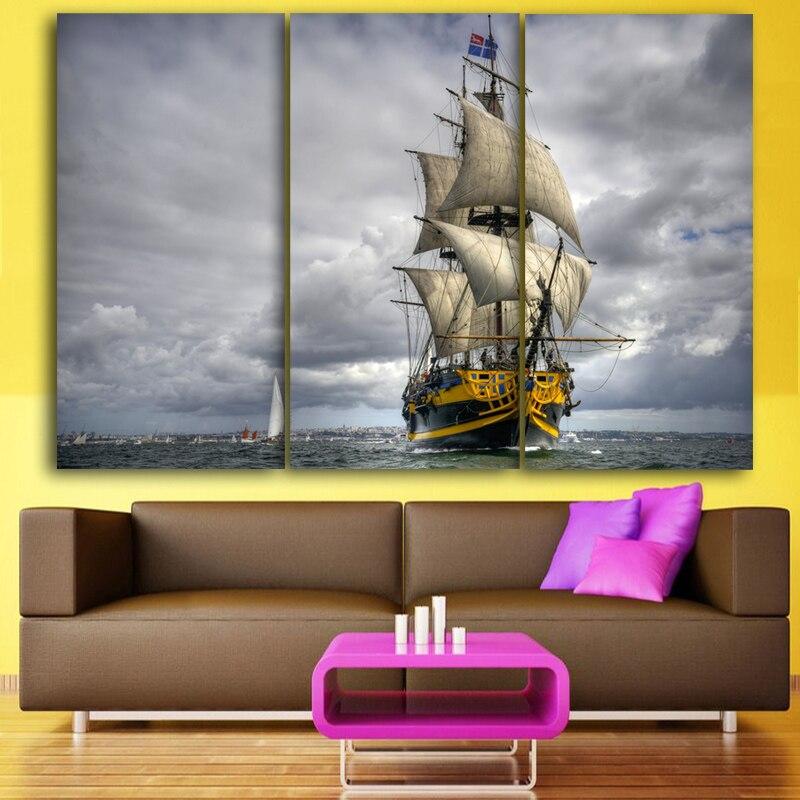 3 placa del panel pintura al óleo imágenes barcos Marcos paisaje ...