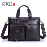 AETOO Genuine Leather Men S Head Cream Men S Handbag Business Bag Briefcase Men S Shoulder