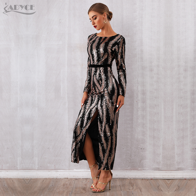 Adyce 2019 New Winter Sequin Celebrity Evening Runway Party Dress Women Vestidos Sexy Backless Maxi Long Sleeve Night Club Dress 4