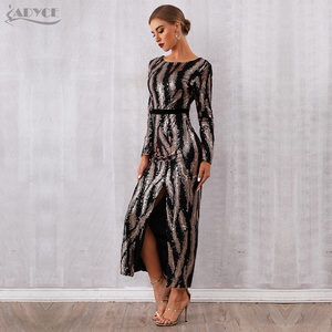 Image 5 - Adyce 2020 New Autumn Sequin Celebrity Evening Runway Party Dress Women Sexy Backless Maxi Long Sleeve Night Club Bodycon Dress