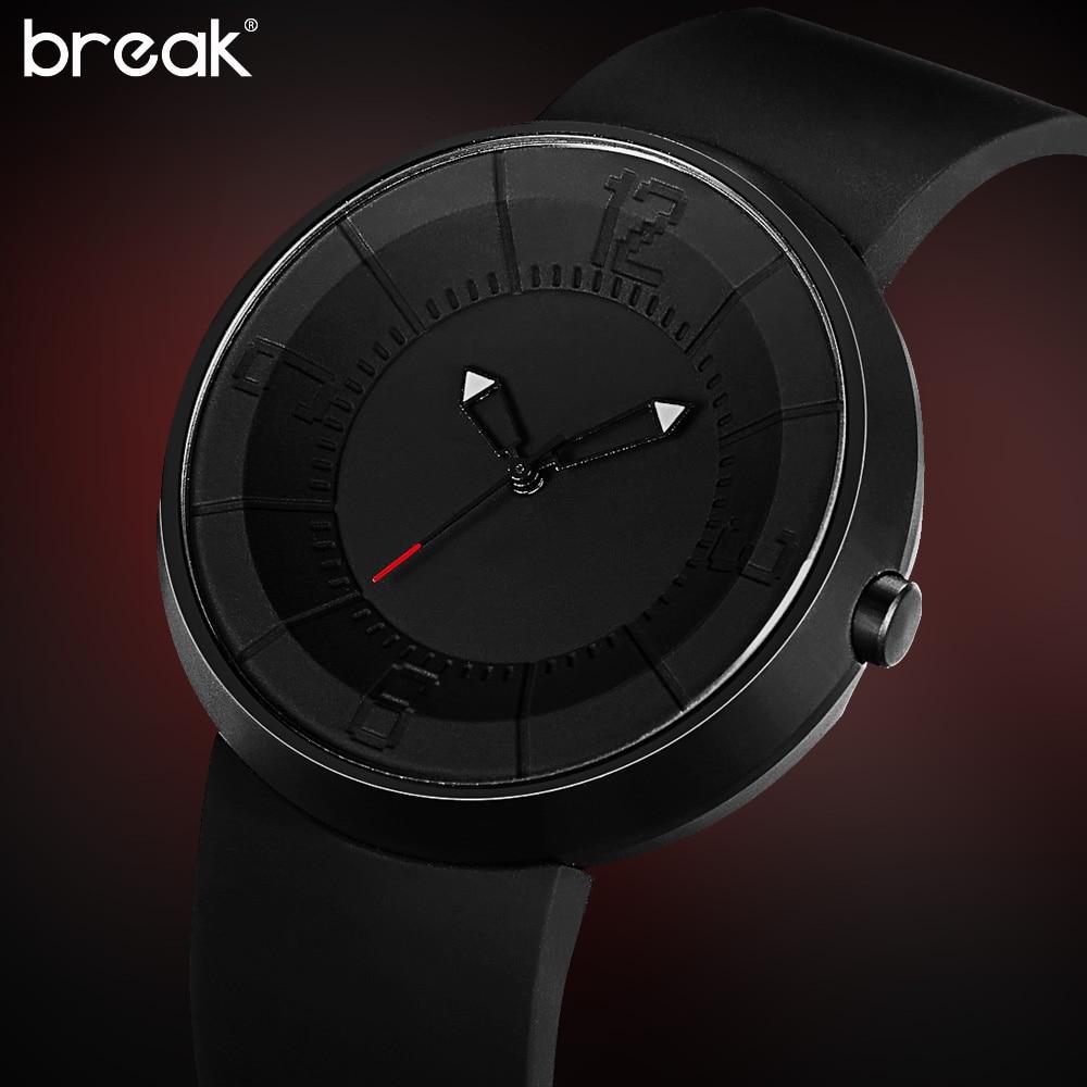New Men Women Black Geek Fashion Casual Waterproof Cool Minimalist Unisex  Quartz Rubber Strap Wristwatches Relogio Sport Watches