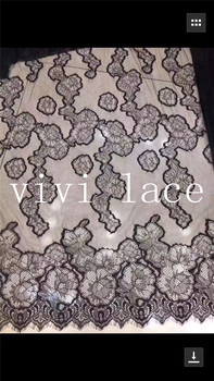 new stock 5pcs/lot  jia004 # offwhite/black eyeflash 3m*1.5m french lace   tulle mesh lace  for bridal  wedding dress