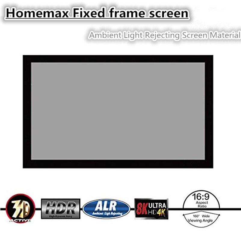 F1HALR Homemax 16:9 HDVT ALR plafonnier en cristal noir rejetant l'écran de projection à cadre fixe pour projecteur normal
