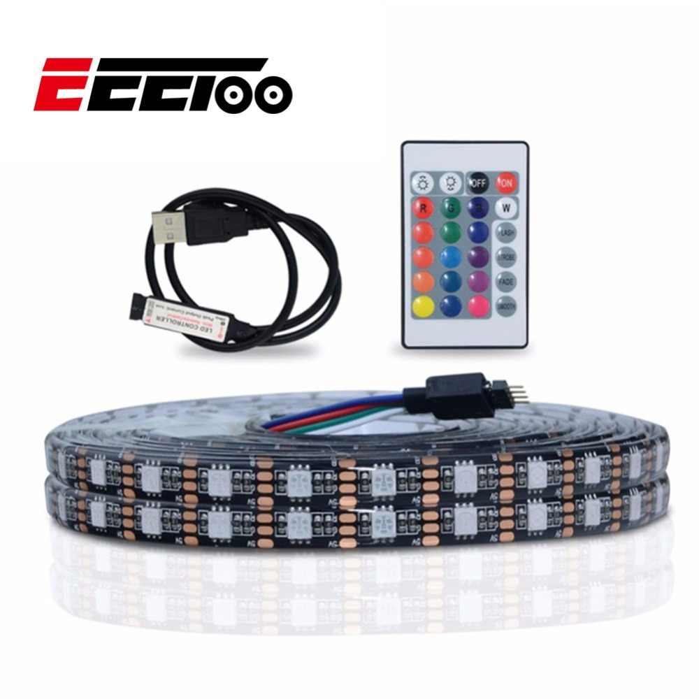 Eeetoo Strip LED USB Lampu 5050 RGB LED Light 5 V 3key 24key LED Garis Lampara Fleksibel Lampu Neon TV latar Belakang Dekorasi Pencahayaan
