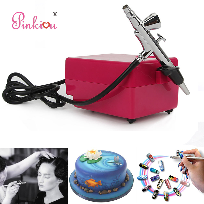 Pink Airbrush Compressor Kit 0.4mm Aerograph Airbrush For Nails Art, Face Make up,Cake Coloring,Tattoo Hobby Art