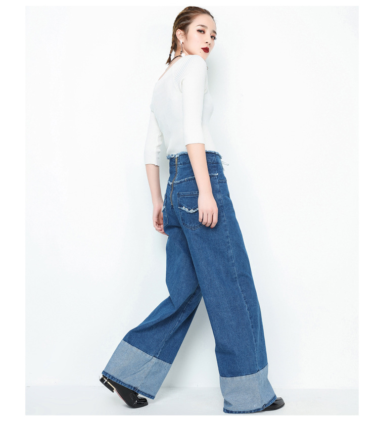 Casual Vintage Boy Friend Zipper Lace Up Wide Leg Straight High Waist Loose Denim Blue Cotton Jeans Pants for Women Trousers high waist jeans rushed cotton zipper fly high plaid loose 2016 korean women summer new straight scraping hole cutoff jeans