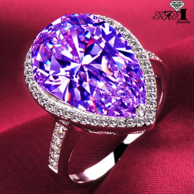 YaYI Fashion Women Jewelry Ring 4CT Purple Zircon Silver Color Engagement Rings