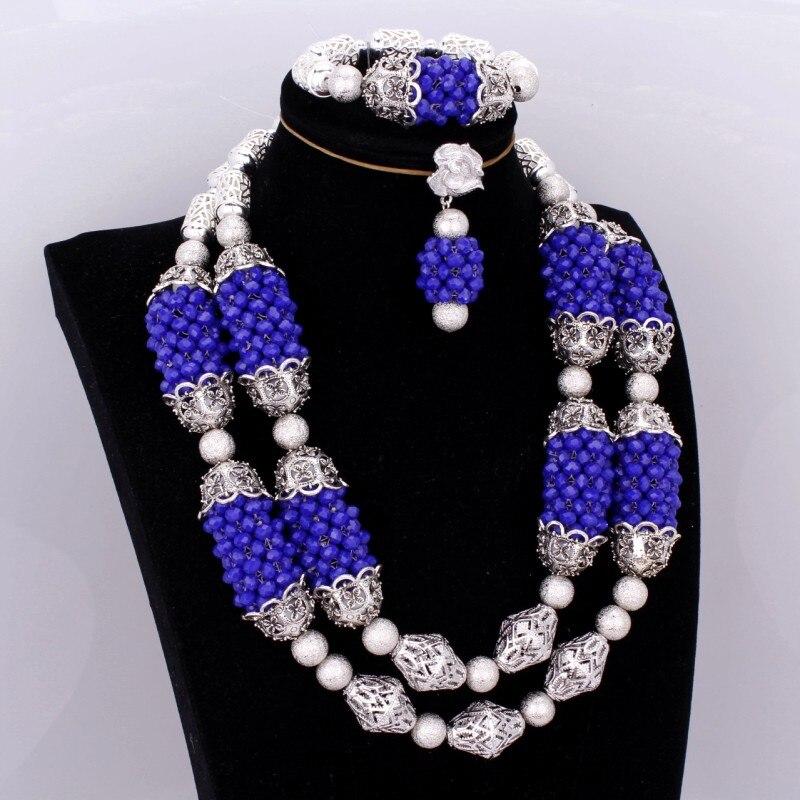 Ensemble de bijoux de mariée africaine bleu Royal et argent Dubai ensemble de bijoux pour femmes grandes boules bijoux fins perles de mariage Nigeria