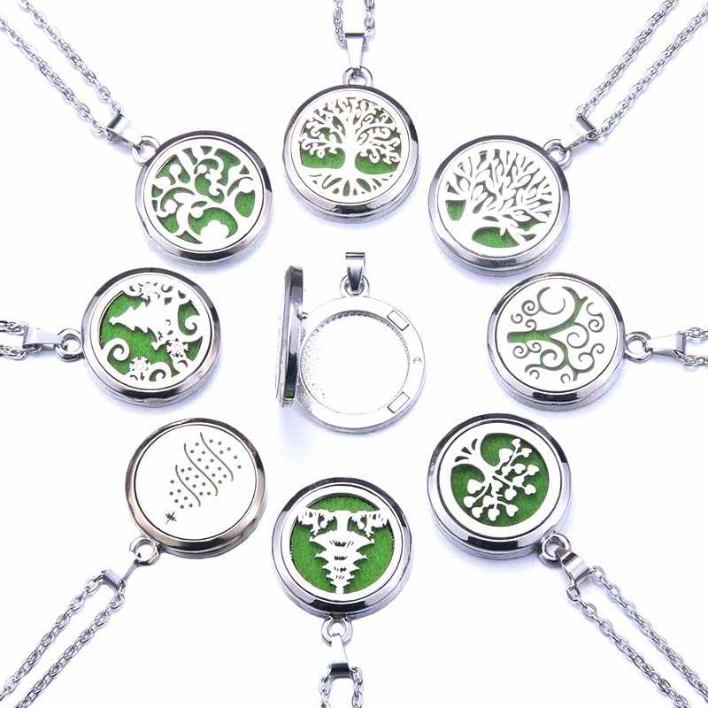 Tree of Life Aroma Box Necklace Stainless Steel Aromatherapy Essential Oil Diffuser Perfume Box Locket Pendant Jewelry Christmas