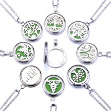 Tree of Life Aroma Box Necklace Stainless Steel Aromatherapy Essential Oil Diffuser Perfume Box Locket Pendant Jewelry Christmas(China)