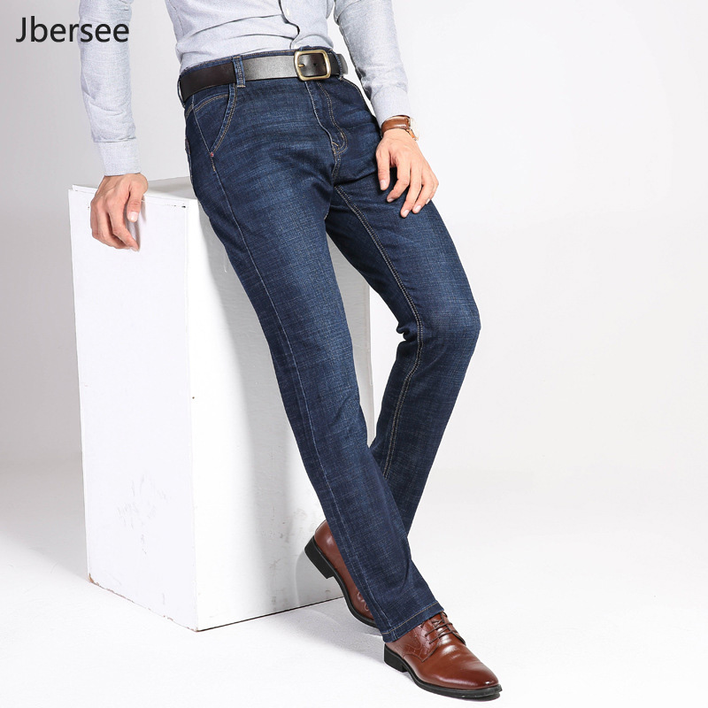 цены Mens Jeans Brand Spring Autumn Winter Casual Straight Denim Jeans Men Slim Stretch Jean Men Blue Denim Pants Business Trousers