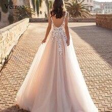 Verngo Elegant Appliques Wedding Dress 2019 V-neck Backless Bride Custom Made Gowns Vestido Novia