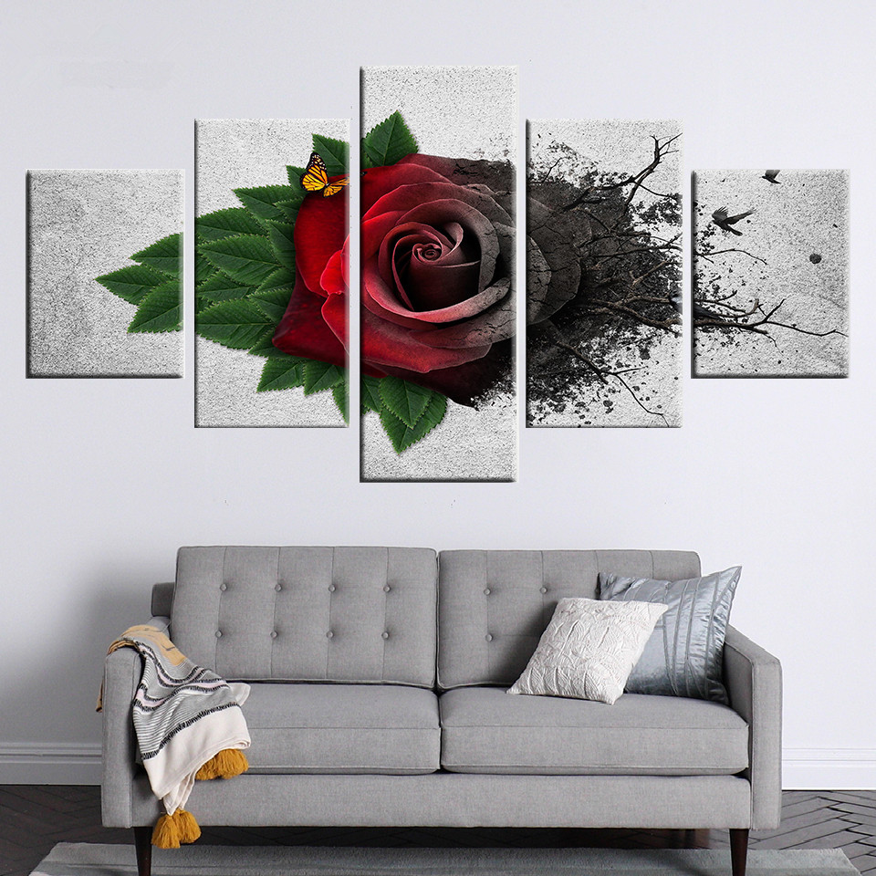 Wall-Art-Modular-Canvas-Pictures-5-Pieces-Red-Garden-Roses-Flowers-Painting-HD-Printed-Butterfly-Poster (1)
