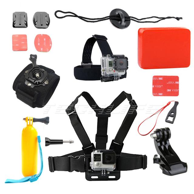 Acción cámara kit de accesorios para gopro go pro hero 4 cámara del deporte sj4000 sjcam accesorios set bobber flotante correa para el pecho 69
