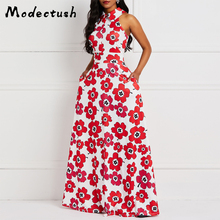 Modecrush Vintage Boho Women Floral Maxi Dress 2019 Summer Turn Down Collar Sleeveless Pockets Dresses Elegant Party Vestido