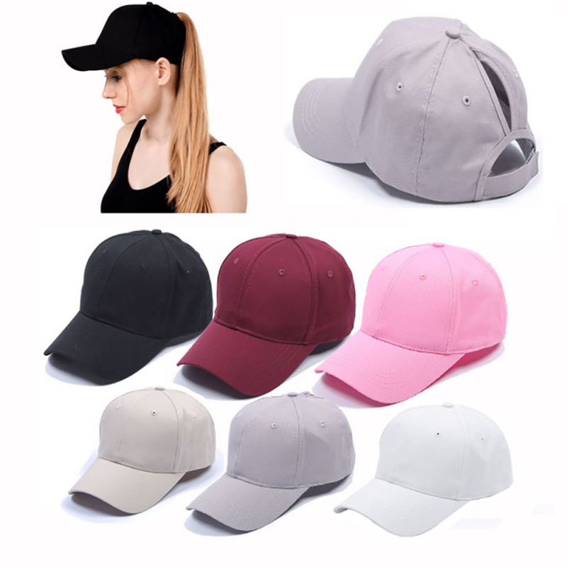 Women's ponytail baseball cap solid color breathable sunshade sun hat after opening Sports