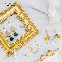 цены GWACC Trendy Big Drop Earrings Pearl Earrings For Women Girls Gold Color Metal Bead Round Earrings Long Wooden Earrings Jewelry