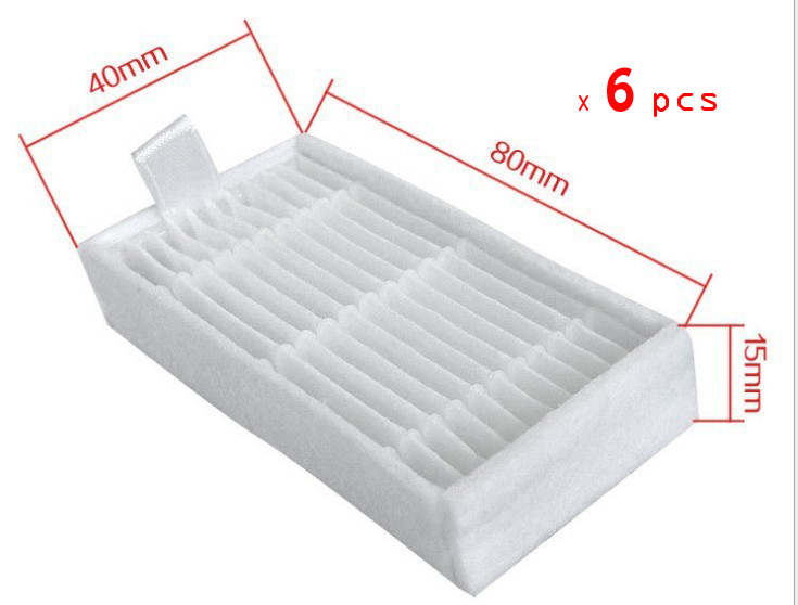 6 Piece dibea x500 hepa filter for Ecovacs Mirror CR120 Dibea x500 x580 Series Vacuum Cleaner Free shipping 12 piece 6 left 6 right side brush for a vacuum cleaner dibea x500 x580 ecovacs mirror cr120 robotic free shipping