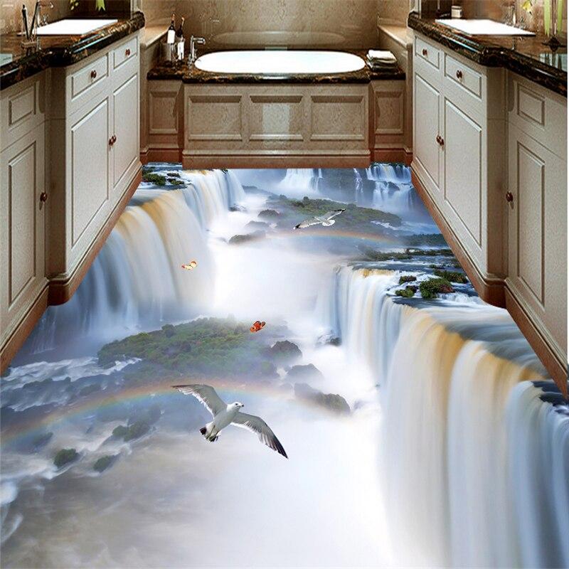 Image 3 - wellyu Custom flooring painting 3d murals cliff waterfall bird bathroom kitchen walkway 3D floor stickers living room wallpaperWallpapers   -