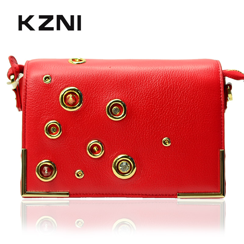 KZNI Genuine Leather Luxury Handbags Women Bags Designer Handbags High Quality Crossbody Bags for Women Bolsas Feminina 1409