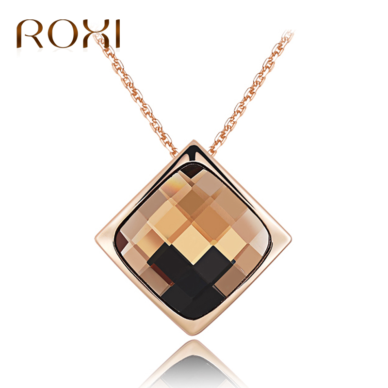 ROXI Fashion Jewelry Women Necklaces Rose Gold Color Square Crystals Pendant Necklace Valentines Day Gift of Love