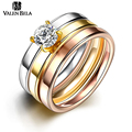 VELAN BELA Luxury Zircon 3 Color Gold Rings Set for Women 2017 NEW Fashion Titanium Steel brincos Jewelry usa Party Gift JZ5550