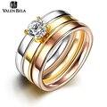 VELAN BELA Zircão Luxo 3 Cor Ouro Anéis Set para As Mulheres 2017 nova moda titanium aço brincos jóias presente do partido eua jz5550