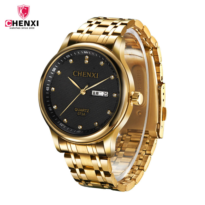 CHENXI Calendar Gold Quartz Watches Men Luxury Hot Selling Wristwatch Golden Clock Male Rhinestone Watch Relogio Masculino 47 все цены