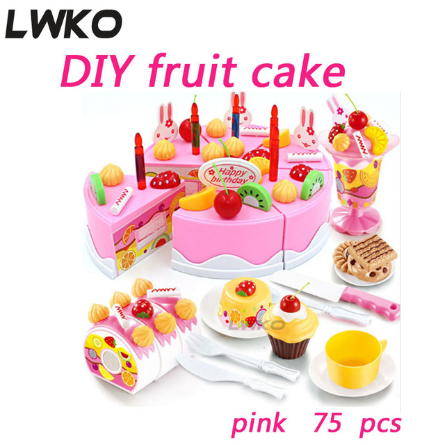 Lwko 54pcs 75pcs Diy Pretend Play Fruit Cutting Birthday Cake Cream