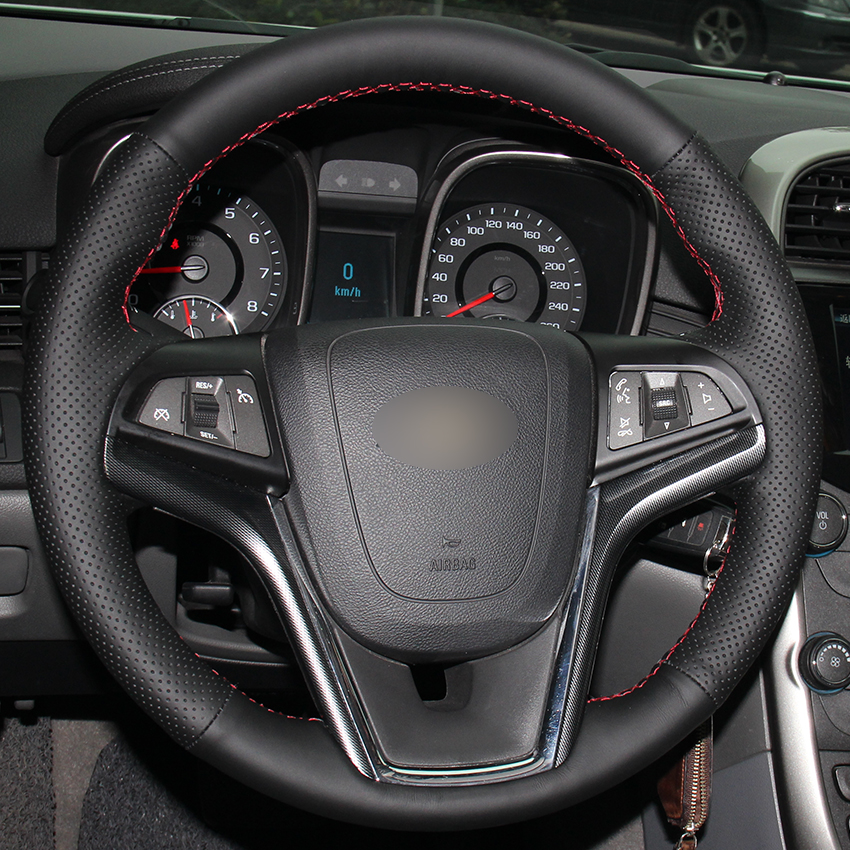 Chevrolet Malibu 2014 For Sale: Black Natural Leather Car Steering Wheel Cover For