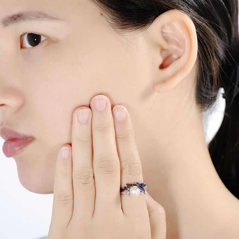 SANTUZZA conjunto de joyas para mujeres de la leyenda del mar de agua dulce blanco perla pendientes de anillo de Plata de Ley 925 Chic conjunto de joyas - 5