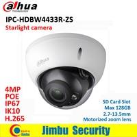 Dahua IP Camera 4MP POE IPC HDBW4433R ZS starlight 2.7mm ~13.5mm motorized lens IR50M SD Card slot replace IPC HDBW4431R ZS IVS