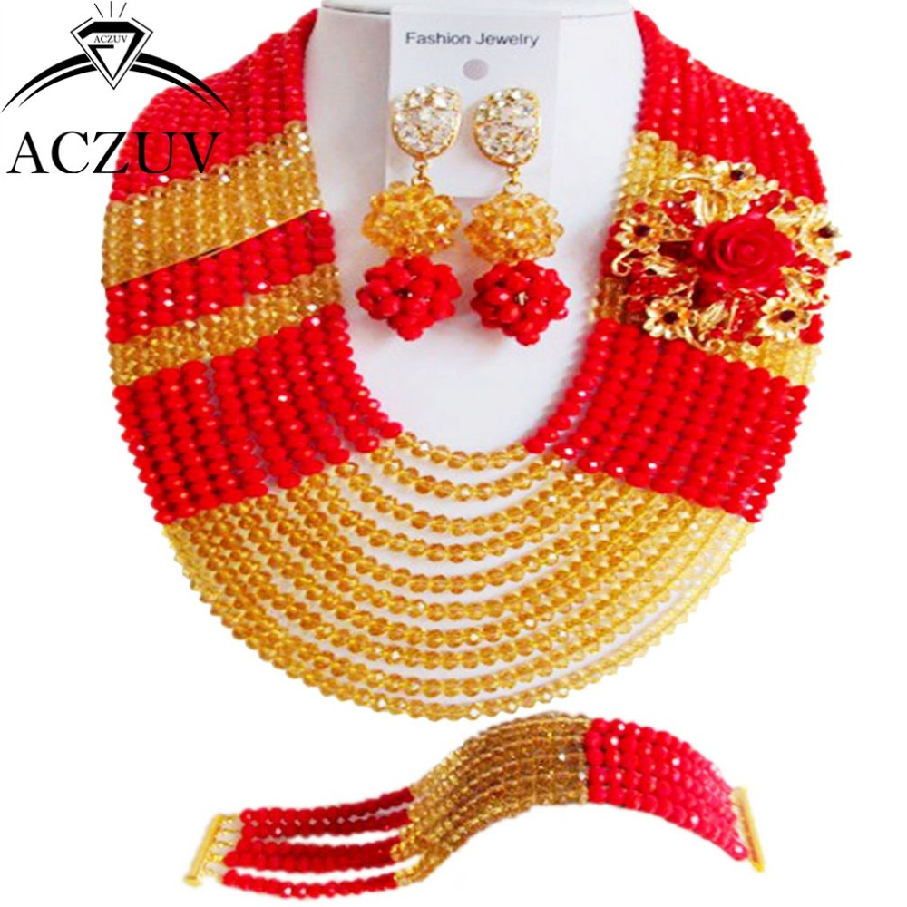 Brand ACZUV Crystal Bridal Jewelry Sets Hotsale Indian Nigerian Wedding African Beads Necklace Red Opaque Gold AN086