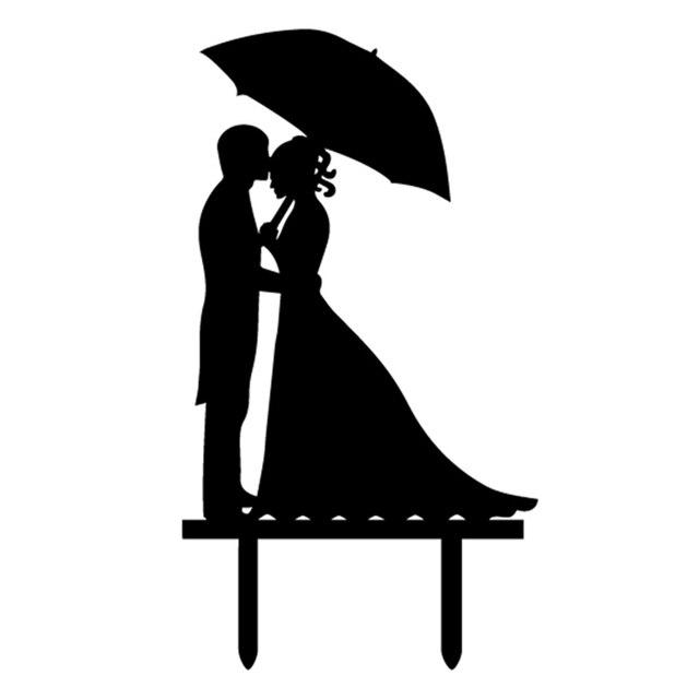 Acryl Mr Mrs Braut Brautigam Hochzeitstorte Flagge Topper Schwarz