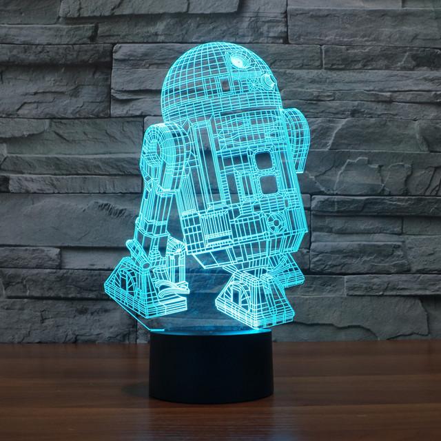 7 colors Star Wars R2 robot 3D light