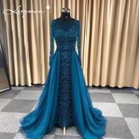 Turquois Mermaid Elegant Long Evening Dress Beaded Sequined Full Sleeves Evening Gown robe de soiree longue 2018 Long Prom Dress