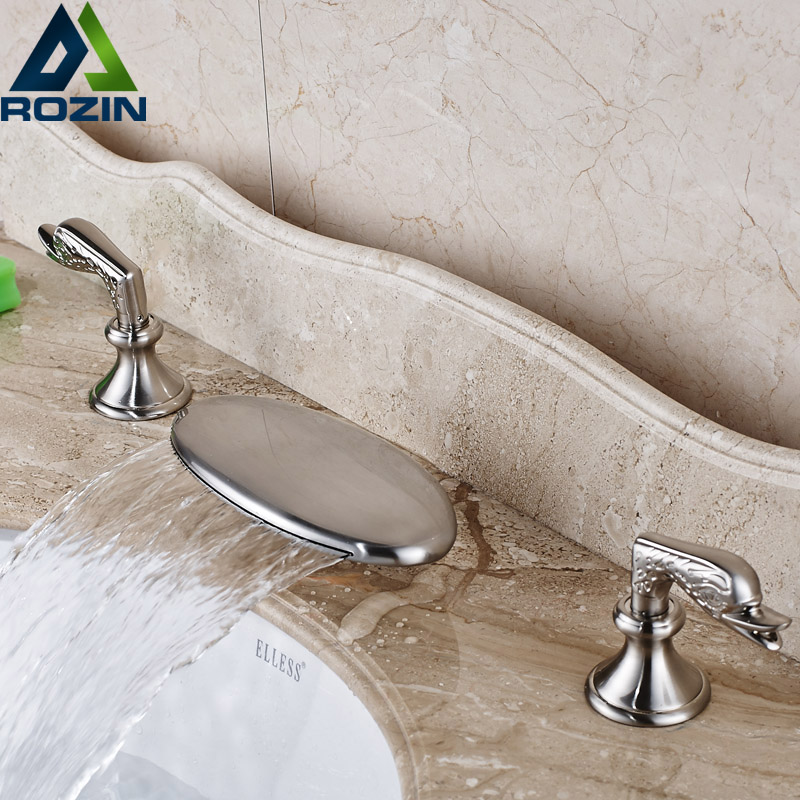 Wholesale and Retainl Waterfall Bathroom Faucet Two Handles Basin Mixer Tap Deck Mounted chorme finish led color faucet deck mounted faucet mixer tap two handles