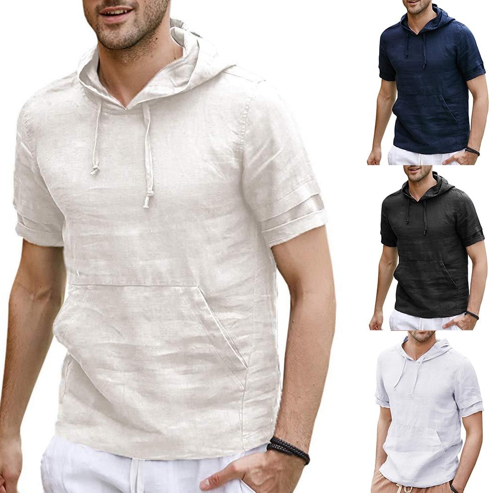 2019 Men Linen   T     shirt   Short Sleeve Breathable Summer Tee Tops Men Hooded   T     shirt   Fashion Casual Streetwear camisetas hombre