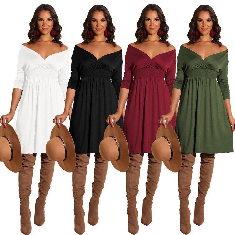 Women Long Sleeve Black White Dress Spring 2019 Sexy V-neck High Waist Boho Dress Casual Loose Dress Female Mini Dress Vestidos Catalogues Will Be Sent Upon Request Women's Clothing