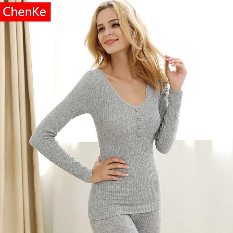 ChenKe пижамы наборы для ухода за кожей осень зима одноцветное цвет  искушение поколения для женщин длинные 9a8988743e261