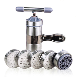 Ręczne urządzenie do gotowania makaronu naciśnij maszyna do robienia makaronu przybory kuchenne korba Cutter owoce sokowirówka naczynia do gotowania z 5 naciskając form do produkcji Spaghetti w Ręczne maszynki do makaronu od Dom i ogród na