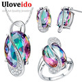 50% off místico conjunto de jóias colares & pingentes brincos conjuntos de jóias de casamento anel de cristal 925 encantos de prata uloveido t155