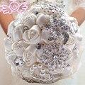 Слоновая кость Розовый искусственный свадебные букеты ручной работы Цветок Горный Хрусталь Кристалл Невесты 2017 Свадебные Свадебный Букет де mariage