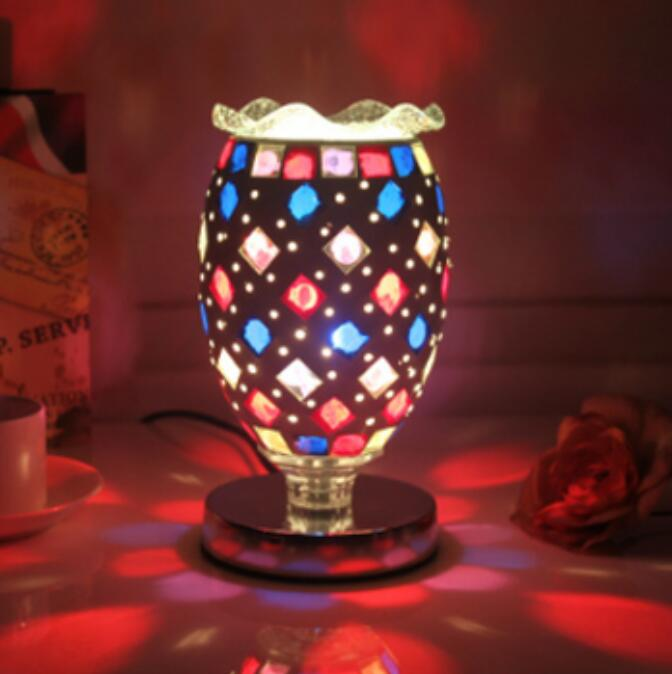 Creative Retro Mosaic Stained Glass Lamps Warm Decorative Plug-in Aromatherapy Table Lamp Study Bedroom Bedside Lamp DF87 chinese jingdezhen blue and white porcelain flower pattern table lamps retro warm cloth lamp for bedroom