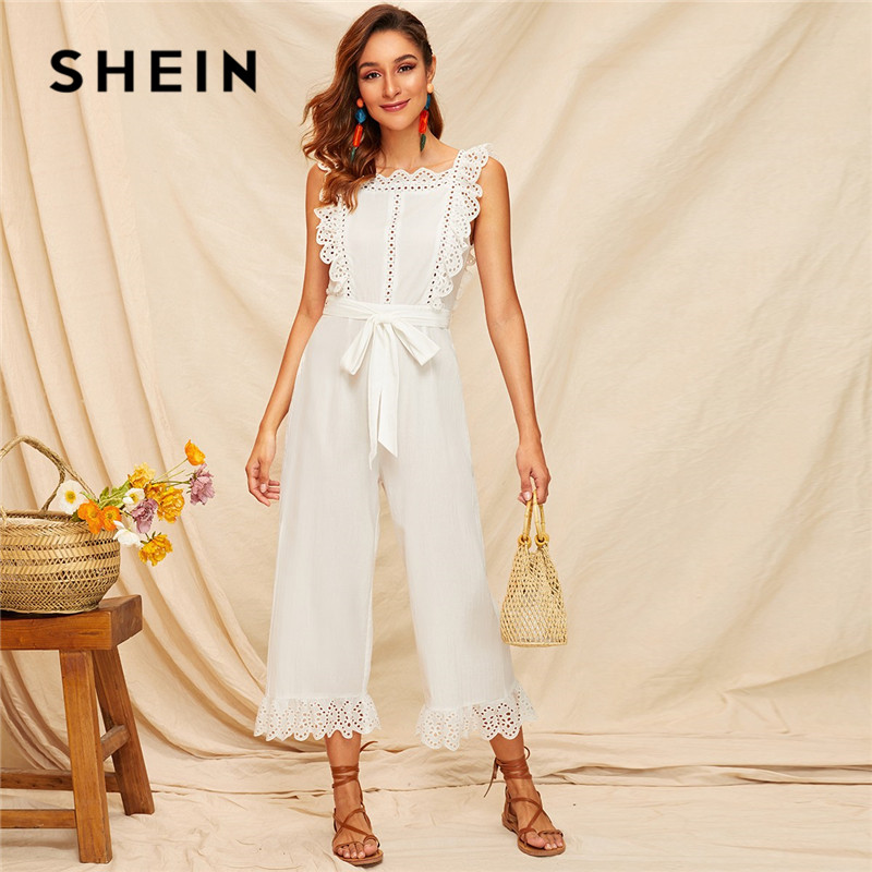 SHEIN Embroidery Eyelet Scallop Trim Backless Wide Leg Sexy   Jumpsuit   Women Summer Sleeveless Square Neck Belted White   Jumpsuit