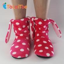 ToLaiToe Женские фланелевые напольные сапоги Теплые хлопчатобумажные туфли Толстые мягкие нижние крытые ботинки Мультфильмы Бытовая обувь