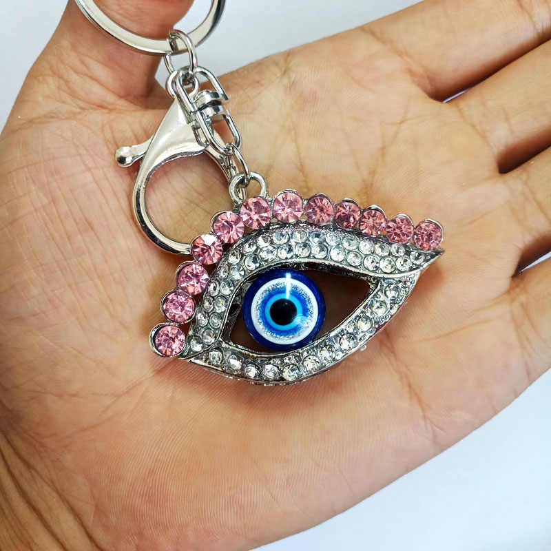 LLavero de coche colgante de lujo llaveros bolso de señora hebilla de cristal de Ojo Azul bolso de mujer colgante de recuerdo llavero de Metal regalo de fiesta