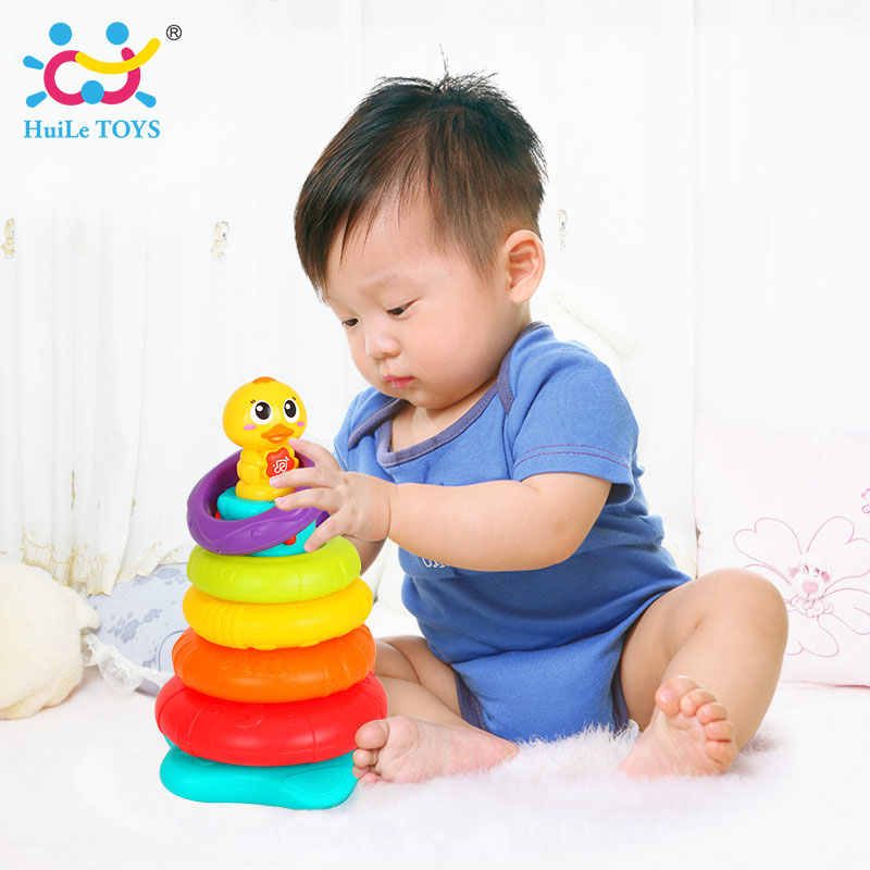 HUILE TOYS 2101 Kids Rainbow Stacking Duck Baby Toy with Colorful Rings Stackers with Music & Sounds & Lights Toys for Children otamatone toy music instruments for kids with 8 built in songs
