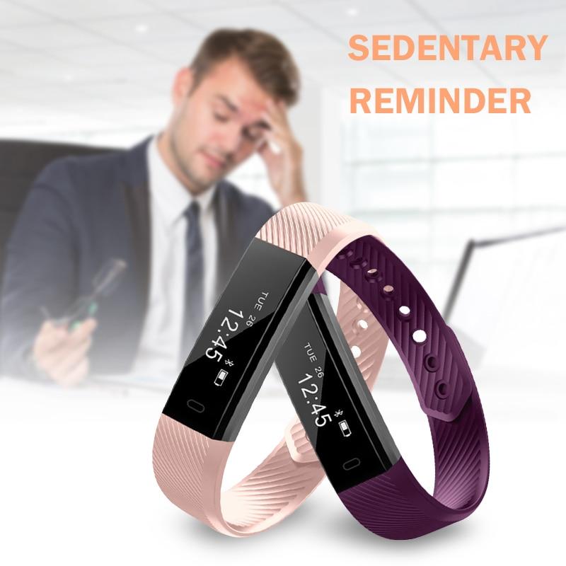 Inteligente ID115 pulsera Bluetooth brazalete Stappenteller Fitness Tracker para Iphone Android teléfono Digital deporte podómetro