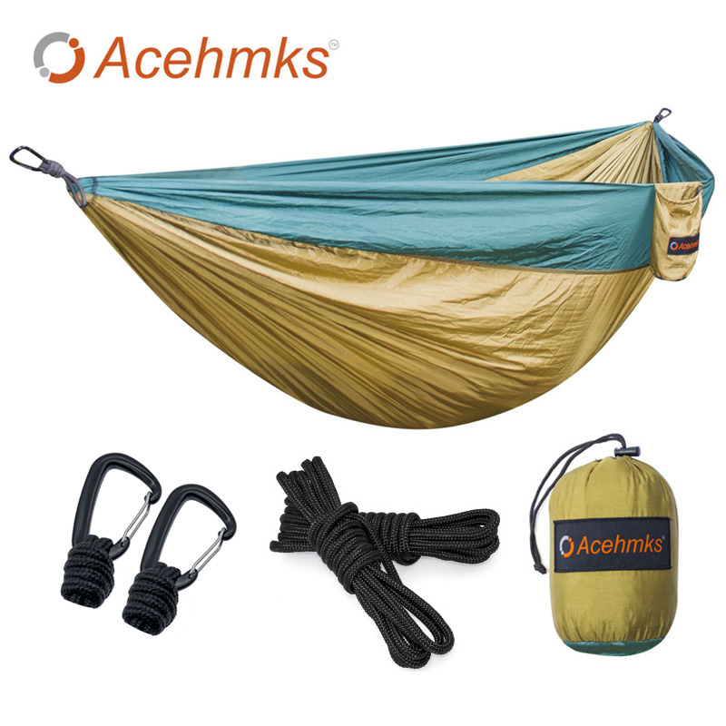 Acehmks Double Hammock Large Size Hammocks For 2 Person Sleeping Bed Outdoor Camping Swing Portable Aluminum Alloy Snap portable parachute double hammock garden outdoor camping travel furniture survival hammocks swing sleeping bed for 2 person